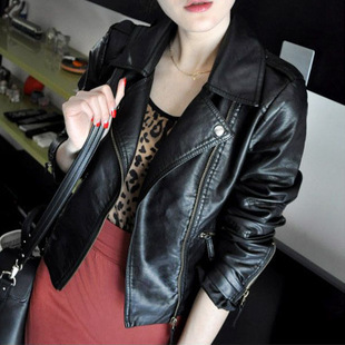 2014 new women's hot washed pu leather motorcycle leather oblique zipper short coat handsome leather