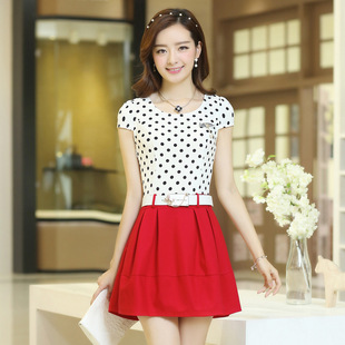 2014 summer new Korean fashion Slim chiffon printed short-sleeved dress with belt []
