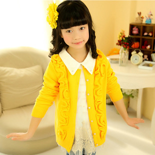 2014 new children's winter sweater Kids Korean girls cotton cardigan sweater jacket large child
