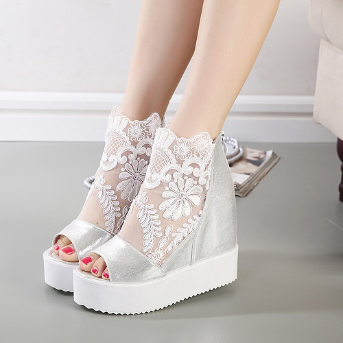 2015 new wedge heels nightclub waterproof ZuiSong fish cake increased with the lace sandals's main photo