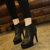 In the fall and winter of 2015 new ultra high heels fine with Martin boots sexy nightclub shoes waterproof Taiwan round