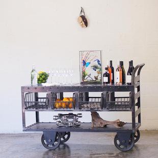 美式乡村法式铁艺做旧复古餐边柜酒吧餐柜三层手推餐车移动