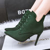 The new Korean fashion high-heeled pointed boots fine with V sexy lace boot slim Ma Dingxue