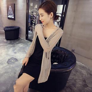 2015夏装新款韩版修身显瘦中长款长袖针织开衫外套0826