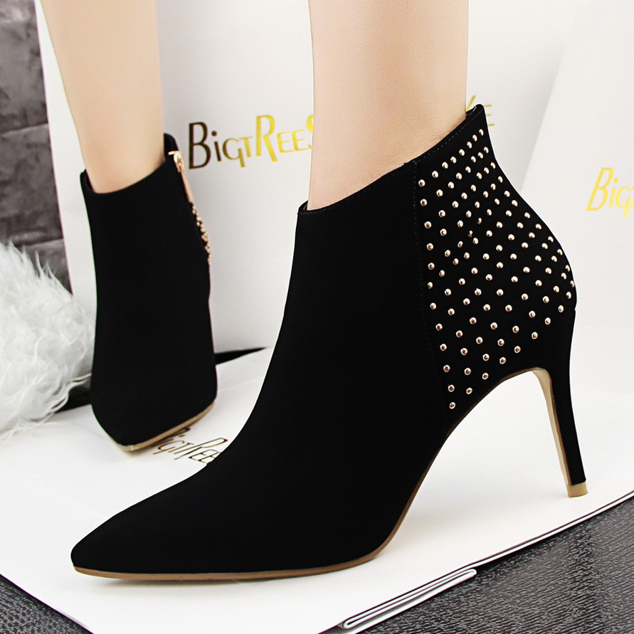 European style retro rivet fine pointed heels a short barrel nubuck leather boots with fine and bare boots's main photo