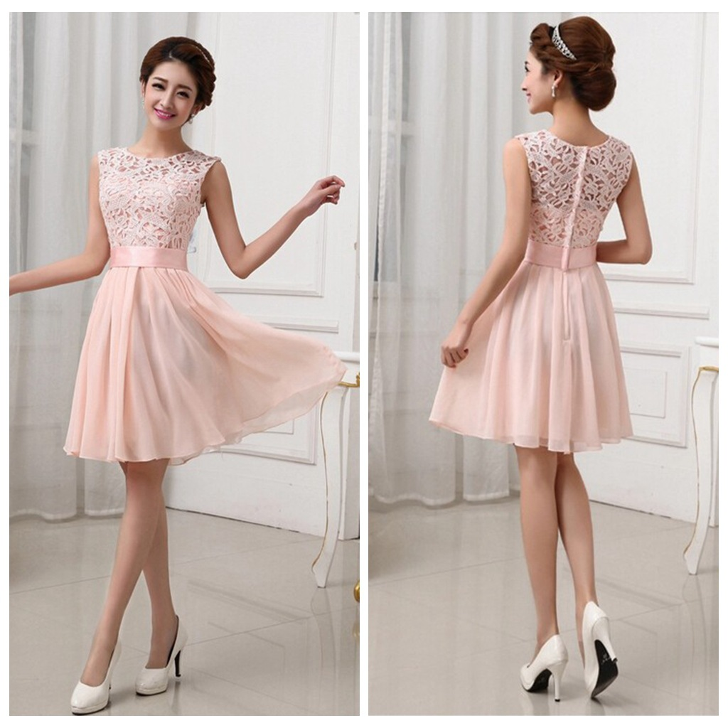 New Vestidos De Fiesta Pink White Chiffon Short Formal Prom Gowns ...