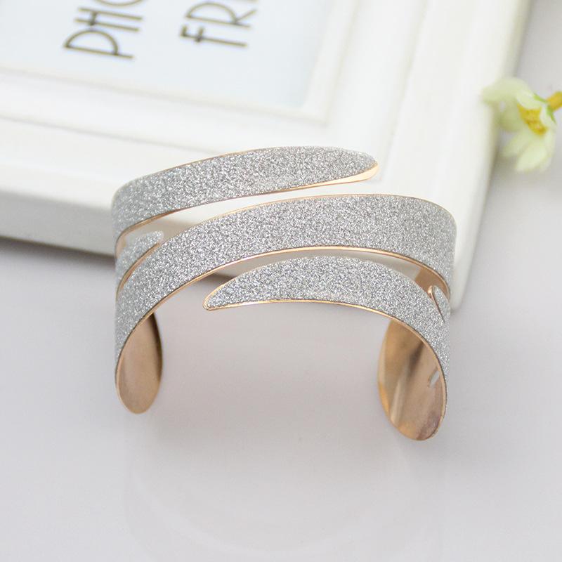 预售欧美时尚个性U型不规则手镯 男女款开口可调节几何形金属臂环