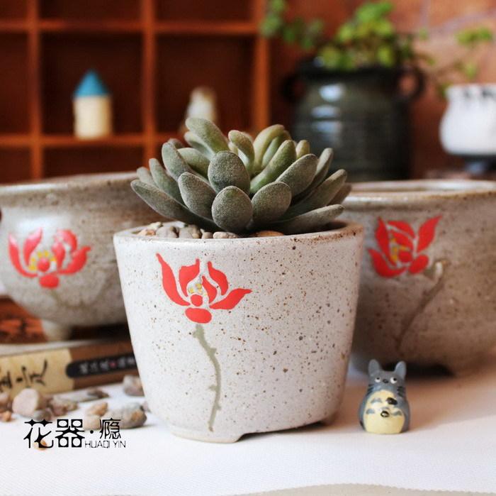 厂家新款热卖 韩式手绘荷花粗陶多肉花盆 复古砂釉陶瓷多肉花器
