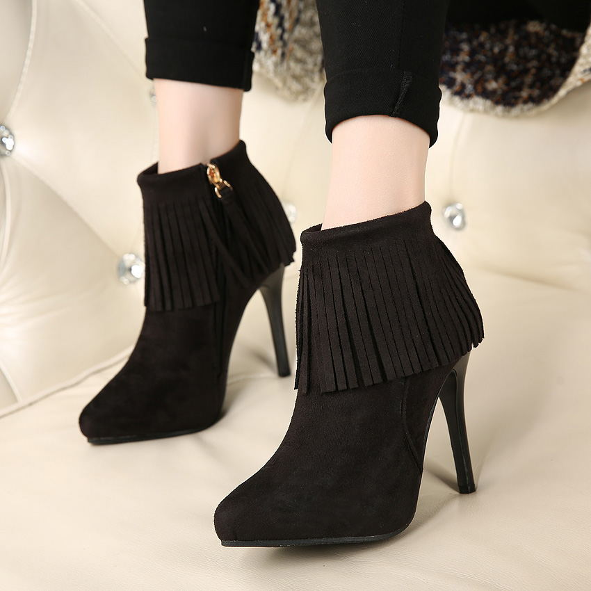 【MOQ 50 pairs】Han edition of 2015 autumn winters with tassel boots fine with female pointed high-heeled shoes black and 's main photo