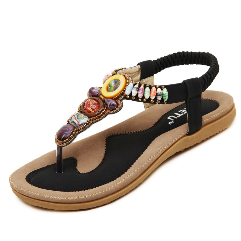 2016 new sandals with big size new han edition Sandals Bohemia flats beaded big yards for women's shoes's main photo