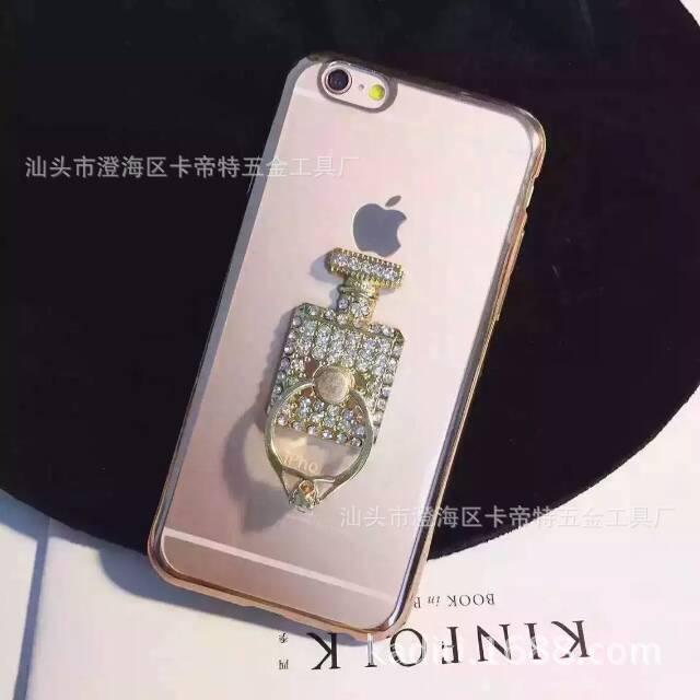 香水瓶镶钻手机支架 苹果6s香水瓶支架 iPhone6S plus指环支架