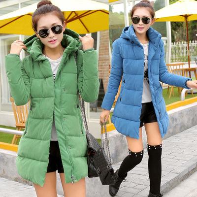 韩版女装荷叶边摆拼接格纹中长款棉衣连帽棉服外套