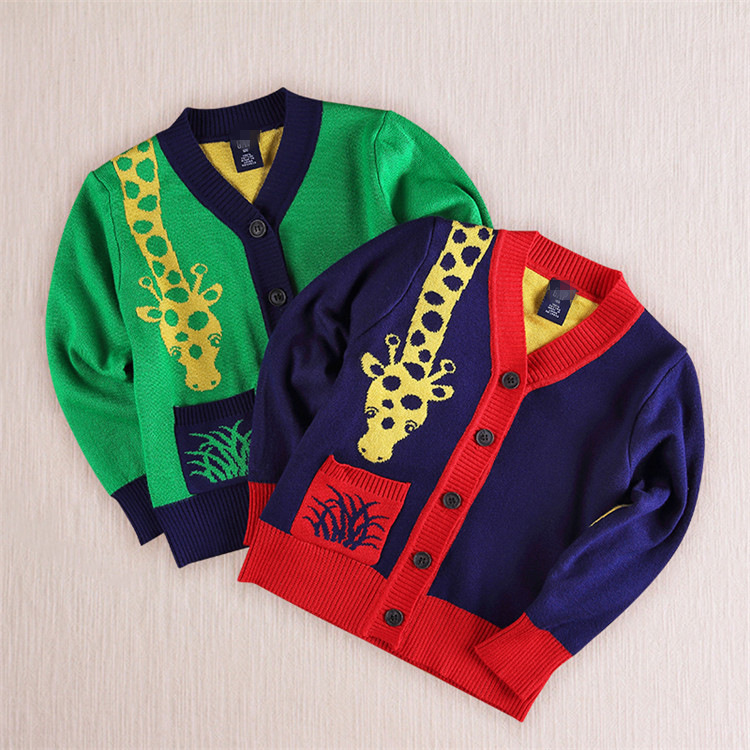 Baby Boy Giraffe Clothes Long Sleeve Knit Cardigan Sweater Spring