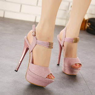 2015 new sexy high with waterproof fish mouth diamond thin heel sandals in the summer fashion high-heeled sandals
