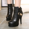 2015 and the European and American female boots with super sexy thin high-heeled shoes buckle waterproof joker short boo