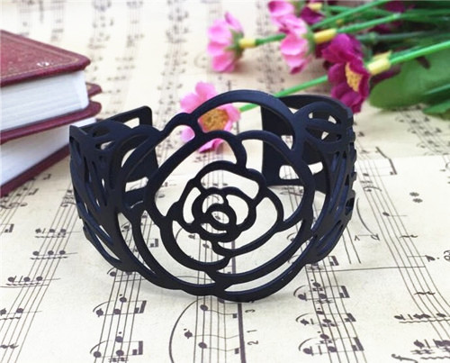 4pcs/lot OL Camellia Opening Metal Female Bracelet Black Armlet All-match Hollow Personality Cuff Bracelets&Bangles JY-8757