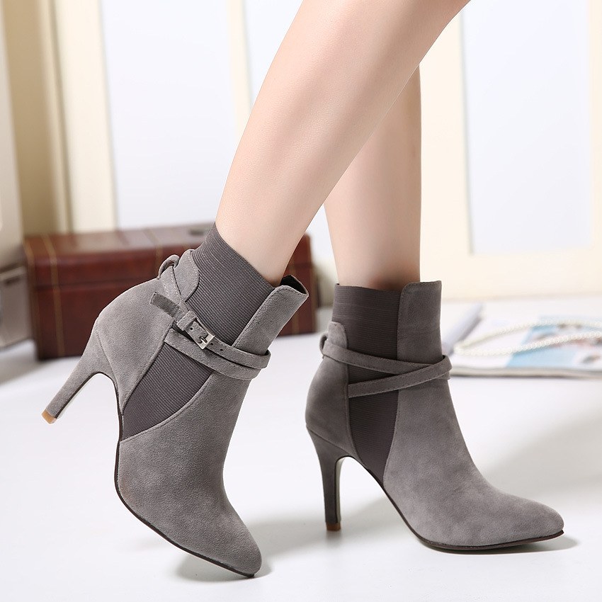 【MOQ 50 pairs】Han edition 2015 new winter pointed high-heeled boots female documentary shoes buckle elastic thin mouth s's main photo
