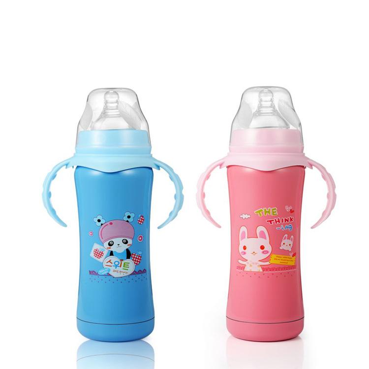 转转熊 不锈钢婴儿奶瓶 双层保温奶瓶 耐摔 防胀气180ML8031