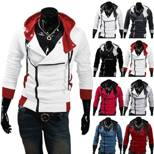 Assassin's Creed explosion models sweater oblique zipper hooded sweater coat sweater men Men
