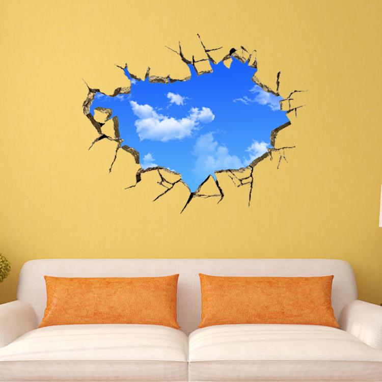 Wall Mural Stickers sky 3d broken wall mural removable wall sticker art vinyl decal