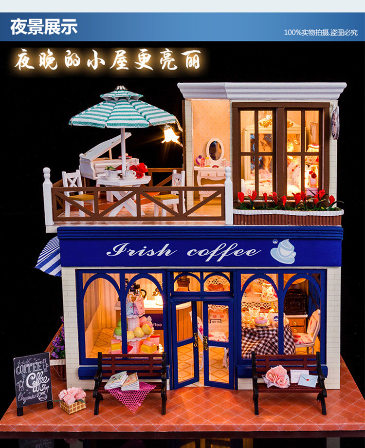 New Kits DIY Wooden Dollhouse Miniature Doll Houses+Cover