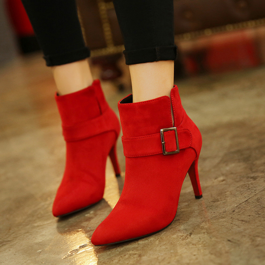 【MOQ 50 pairs】Qiu dong season suede high-heeled belt buckle in Europe and the sexy female short boots pointed the new fi's main photo