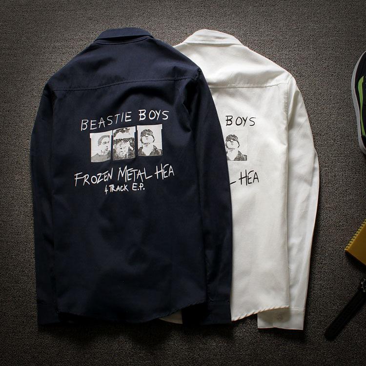 2015潮流新款秋装潮牌字母三个人头衬衣权志龙修身长袖衬衫韩版男图片