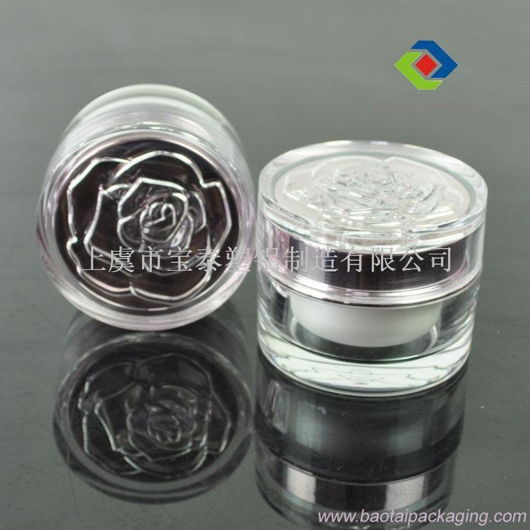 厂家供应高档化妆品包装容器,亚克力花盖直圆膏霜瓶