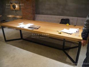 乡韵美式复古实木铁艺办公会议桌 工作台 做旧咖啡酒吧台面