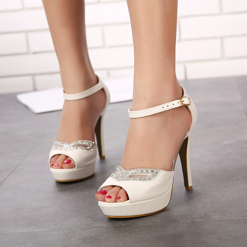 2016 Summer sandals han edition high with fine with nightclubs waterproof Taiwan sexy stilettos diamond wedding shoe fis's main photo