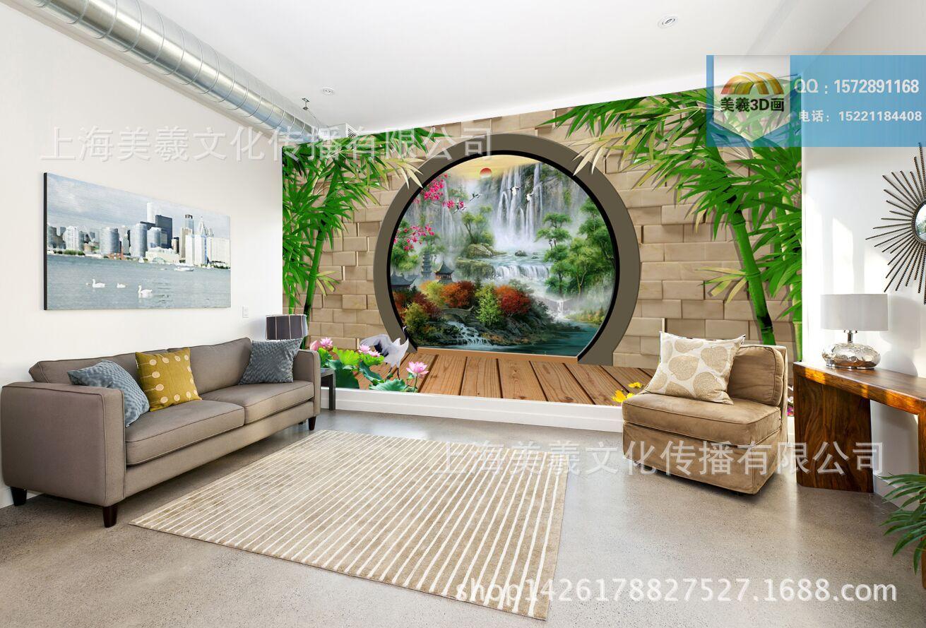 风景画3d立体墙贴 3d山水画 家庭3d电视墙