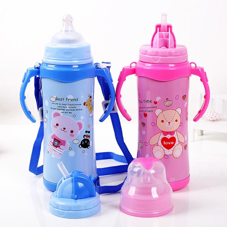 宝宝婴儿不锈钢保温奶瓶带吸管手柄宽口径双层防摔两用儿童保温杯