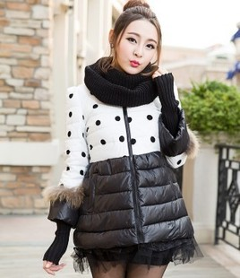 Korean version of the new winter long section of large size women's Slim hooded female thickening warm coat jacket