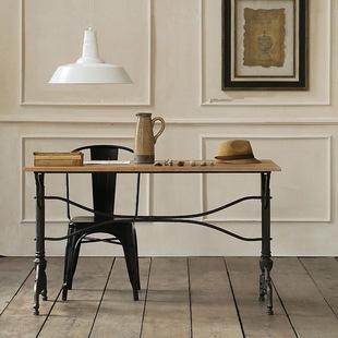 新款美式办公桌 复古双戬式餐桌 实木餐桌椅组合长方形 厂地直销