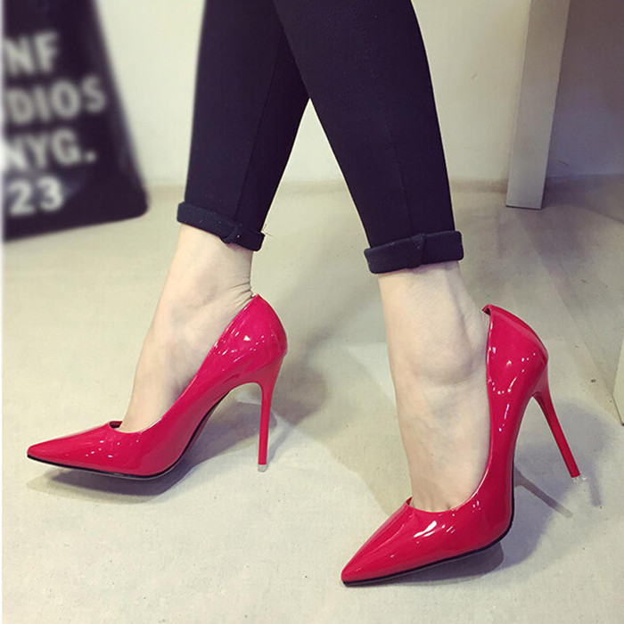 Europe and the United States, new paint pointed women's shoes nightclubs with red wedding shoe heels's main photo
