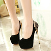 2016 spring new sexy nightclub OL super high heels metal chain diamond decoration with a fine suede shoes women's single