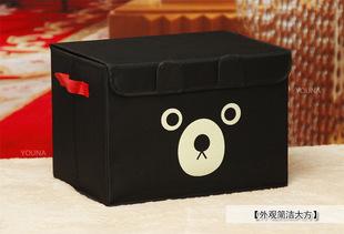 厂家直销 新品可爱黑熊卡通防水牛津布大号有盖储物整理收纳箱
