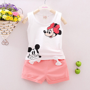 15 summer cotton sleeveless vest shorts suit female baby girls summer clothing suit summer baby small virgins