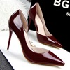 European style fashion simple fine heels shallow mouth tip side engraved sexy thin OL occupation shoes