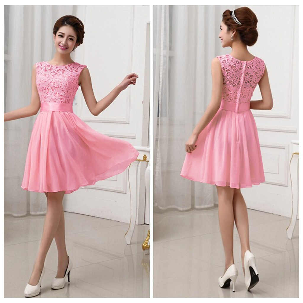 XL XXL Vestidos De Fiesta Pink White Chiffon Short Formal Prom Gown ...