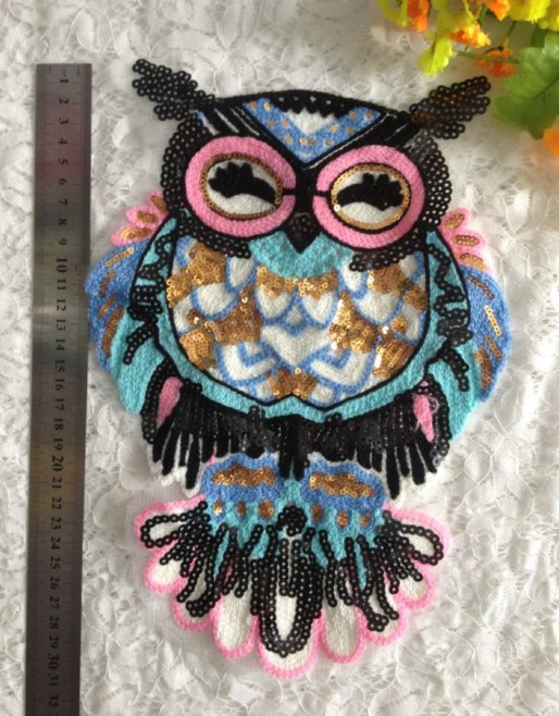 Sequin Cloth Owl Korean Wild T-shirt Sweater Owl Sequin Embroidery Knit Patch NHLT184878
