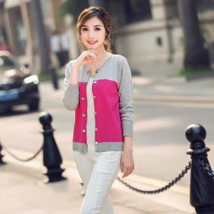 2015秋装新款韩版修身拼色双排扣针织毛衣女一件代发0826