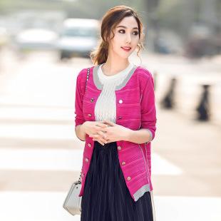 实拍2015秋装新款韩版修身纯色双排扣针织中长款毛衣0826
