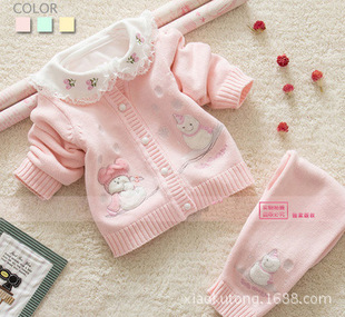 A generation of fat baby sweater baby girls suit wholesale Yi promise explosion models sweater children sweater suit
