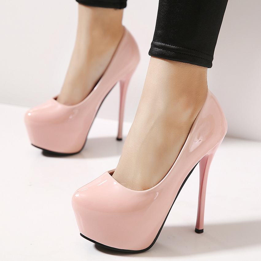 spring of new super high heels with a fine round shoes OL shoes waterproof nightclub occupation bare pink shoes Asakuchi's main photo
