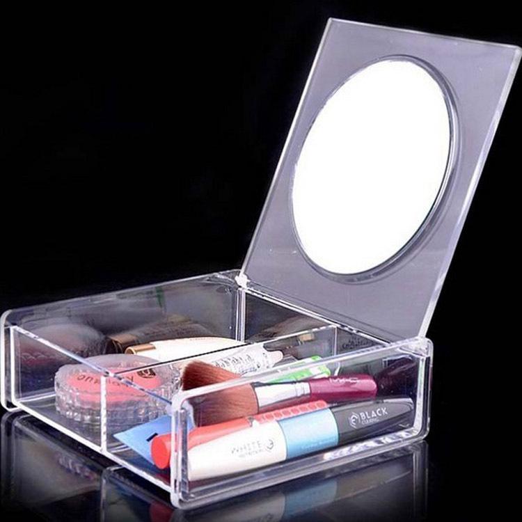 生活用品 欧式家居1027B化妆盒透明塑料收纳盒带镜子亚克力首饰盒