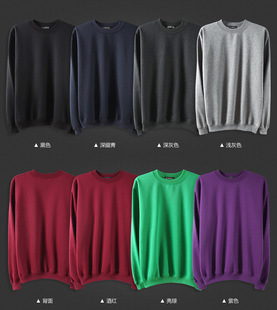Men and women casual white round neck pullover sweater solid color plus thick velvet sweater customized advertising whol
