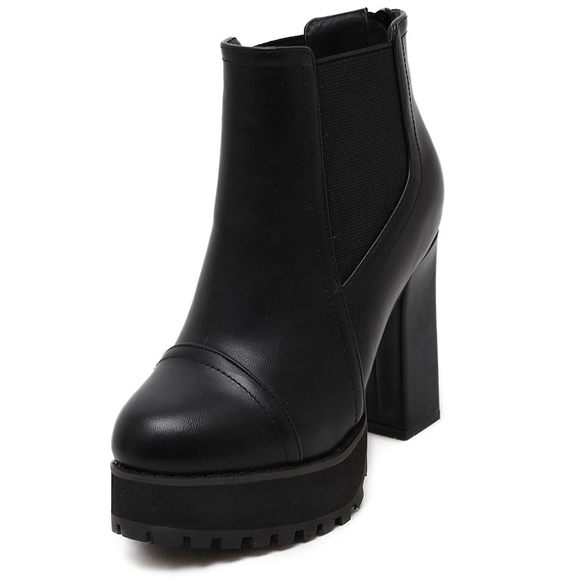 【MOQ 50 pairs】High-heeled boots of new fund of 2015 autumn winters is thick with waterproof Taiwan female boots tidal pl's main photo