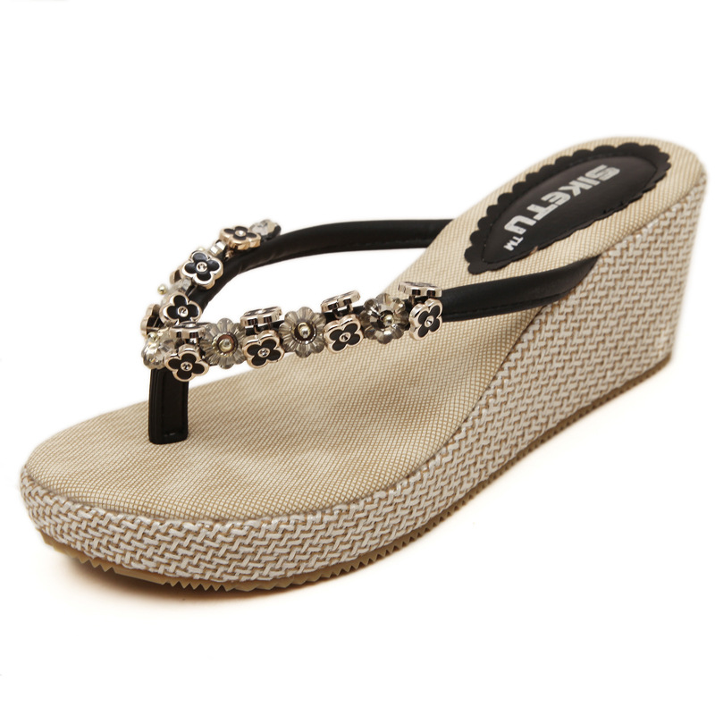 2015 han edition latest women wedge sandal thong sandals beads for women's shoes's main photo