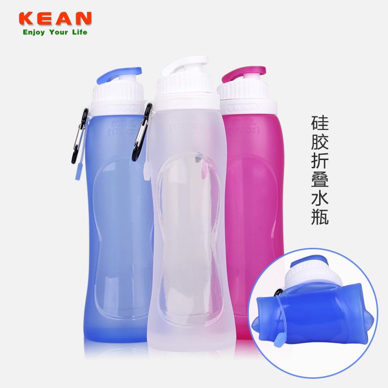 户外饮水袋便携可折叠水瓶运动水壶旅游硅胶壶 时尚硅胶折叠水壶